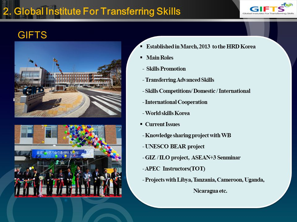 LOGO 2. Global Institute For Transferring Skills Providing information  Established in March, 2013 to the HRD Korea  Main Roles - Skills Promotion -