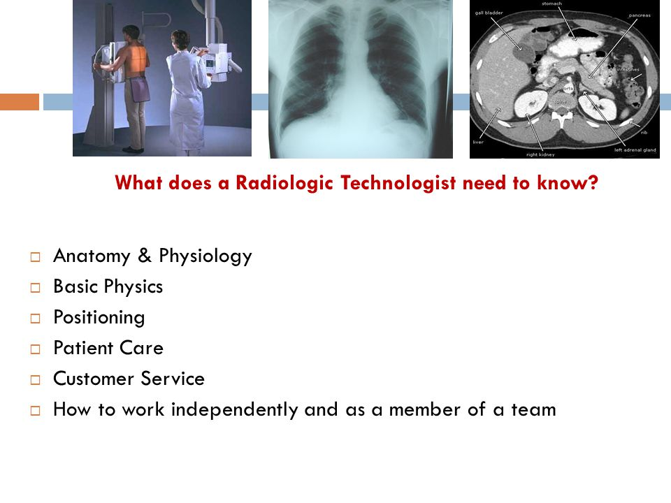 What does a Radiologic Technologist need to know?  Anatomy & Physiology  Basic Physics  Positioning  Patient Care  Customer Service  How to work