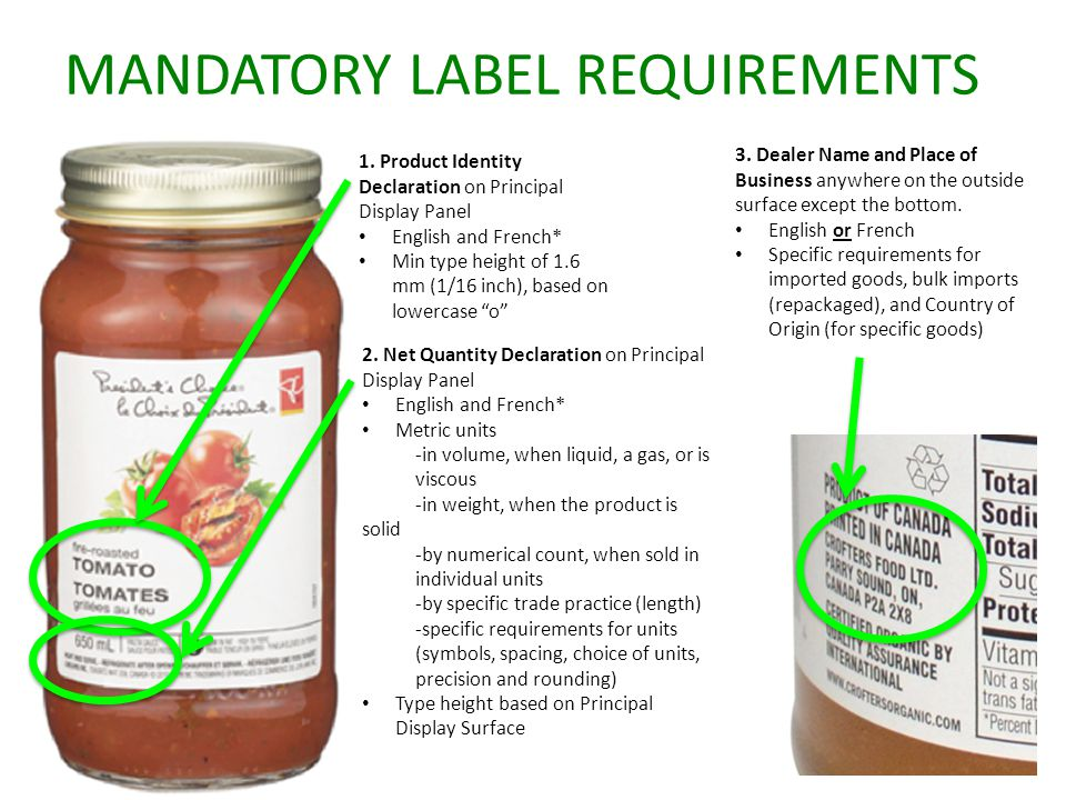 MANDATORY LABEL REQUIREMENTS 1. Product Identity Declaration on Principal Display Panel English and French* Min type height of 1.6 mm (1/16 inch), bas