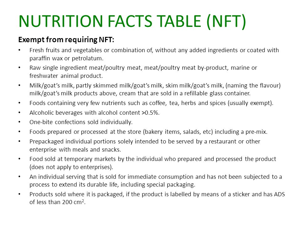 NUTRITION FACTS TABLE (NFT) Exempt from requiring NFT: Fresh fruits and vegetables or combination of, without any added ingredients or coated with paraffin wax or petrolatum.