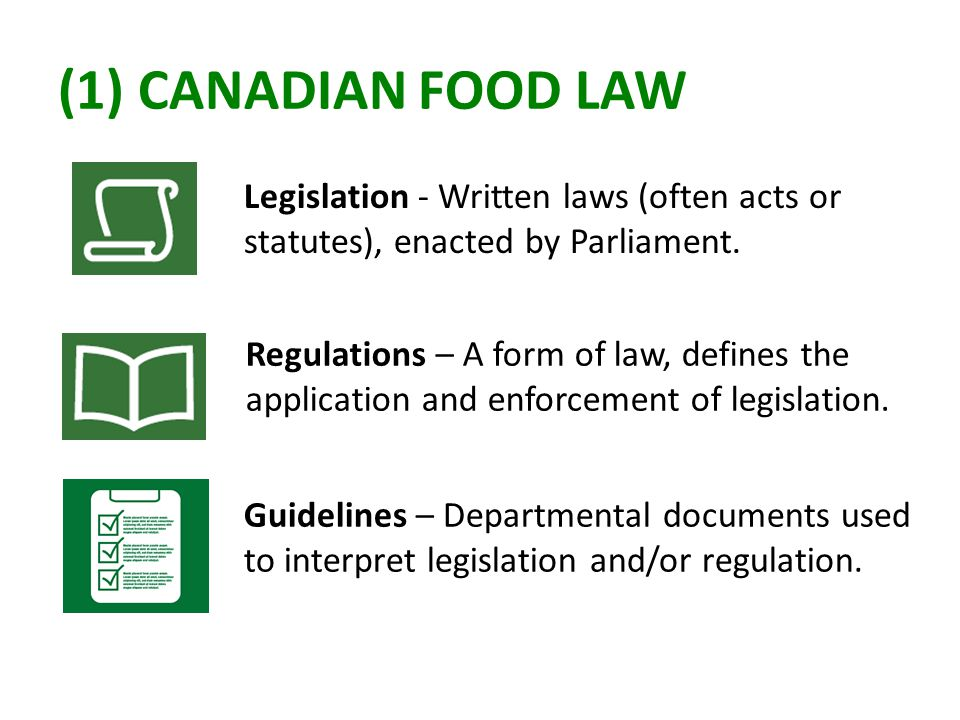 (1) CANADIAN FOOD LAW Legislation - Written laws (often acts or statutes), enacted by Parliament. Regulations – A form of law, defines the application