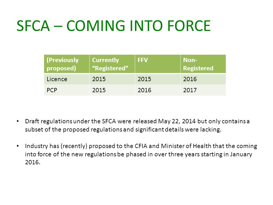 SFCA – COMING INTO FORCE (Previously proposed) Currently Registered FFVNon- Registered Licence2015 2016 PCP201520162017 Draft regulations under the SFCA were released May 22, 2014 but only contains a subset of the proposed regulations and significant details were lacking.