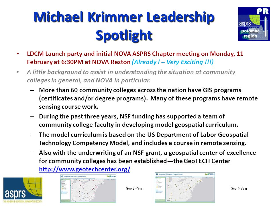 Michael Krimmer Leadership Spotlight LDCM Launch party and initial NOVA ASPRS Chapter meeting on Monday, 11 February at 6:30PM at NOVA Reston (Already .