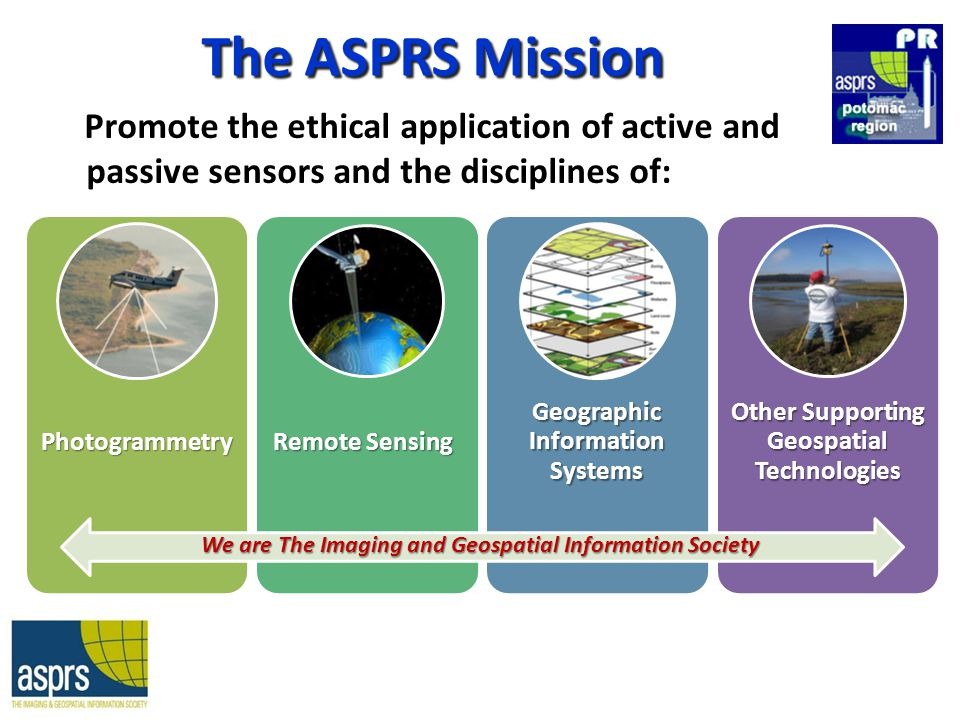 The ASPRS Mission Promote the ethical application of active and passive sensors and the disciplines of: Photogrammet ry Remote Sensing Geographic Information Systems Other Supporting Geospatial Technologies We are The Imaging and Geospatial Information Society