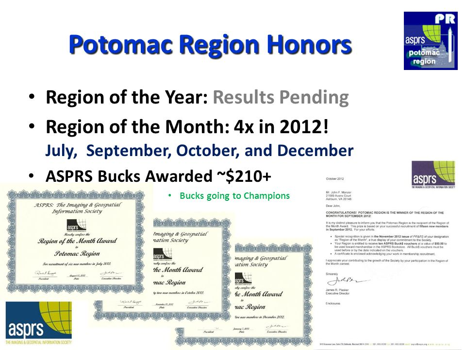 Potomac Region Honors Region of the Year: Results Pending Region of the Month: 4x in 2012.