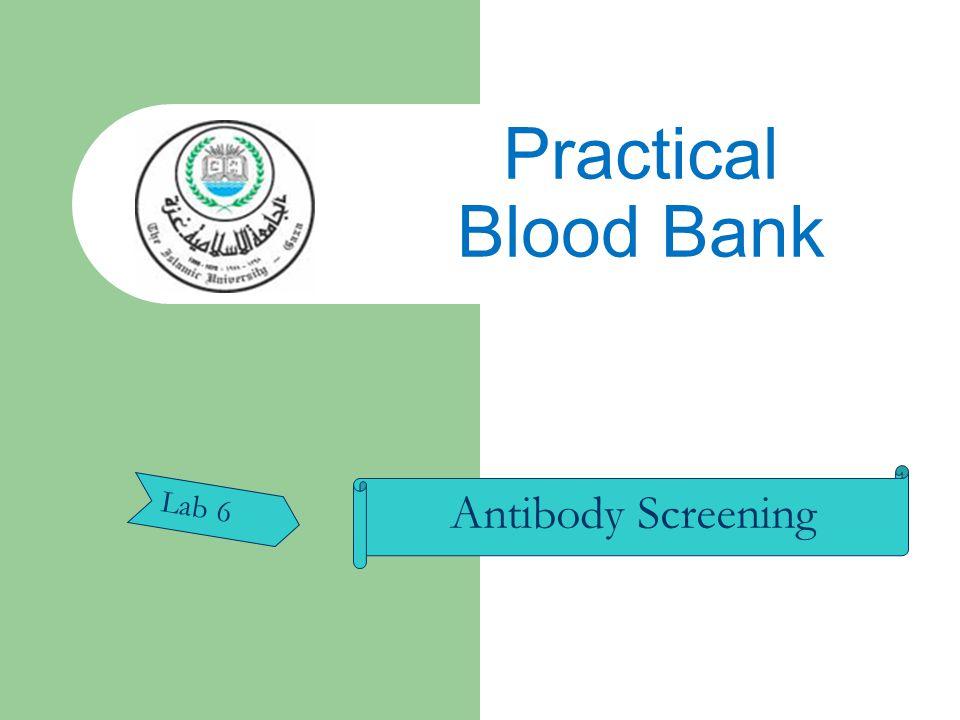 Antibody Screening Lab 6 Practical Blood Bank