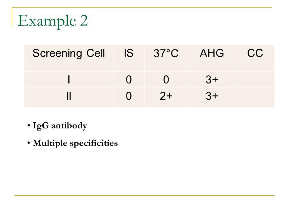 Example 2 Screening CellIS37°CAHGCC I003+ II02+3+ IgG antibody Multiple specificities