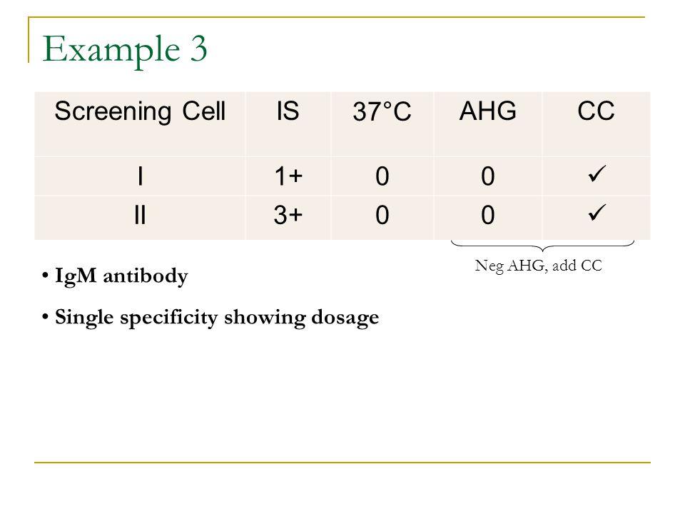 Example 3 Screening CellIS37°CAHGCC I1+00 II3+00 IgM antibody Single specificity showing dosage Neg AHG, add CC