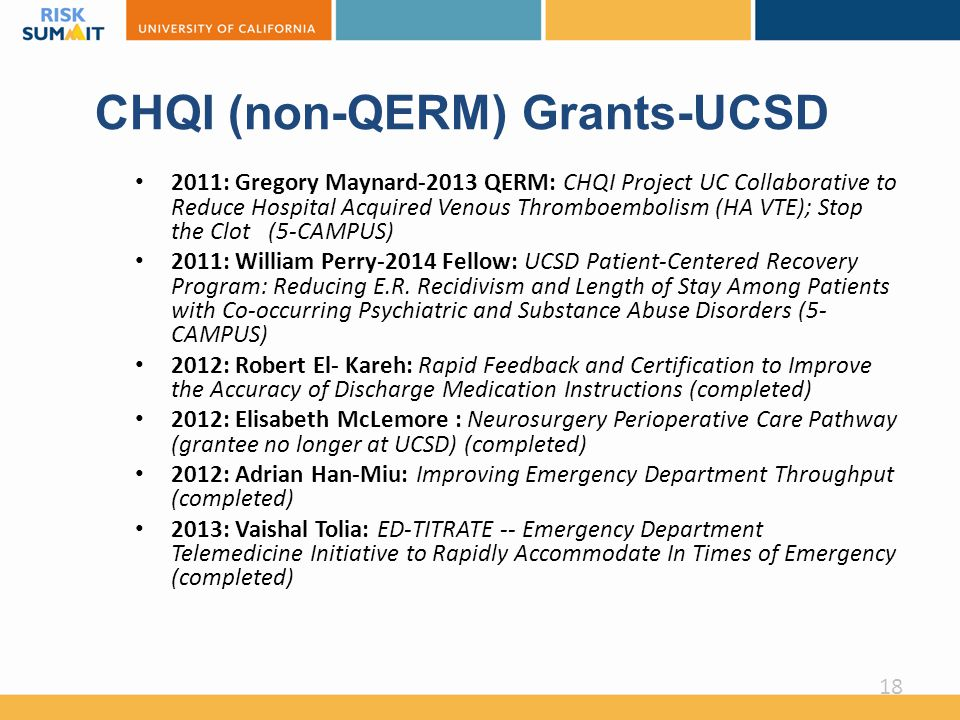 CHQI (non-QERM) Grants-UCSD 2011: Gregory Maynard-2013 QERM: CHQI Project UC Collaborative to Reduce Hospital Acquired Venous Thromboembolism (HA VTE); Stop the Clot (5-CAMPUS) 2011: William Perry-2014 Fellow: UCSD Patient-Centered Recovery Program: Reducing E.R.