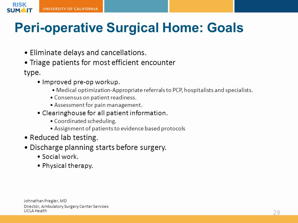 Peri-operative Surgical Home: Goals Eliminate delays and cancellations.