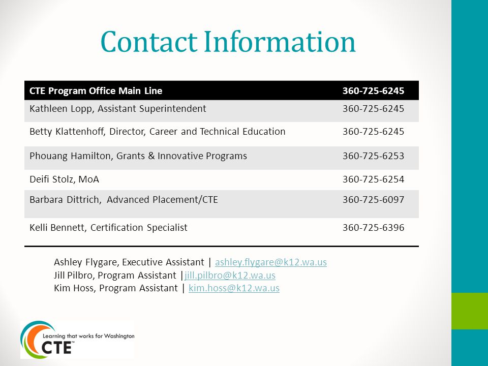 Contact Information CTE Program Office Main Line360-725-6245 Kathleen Lopp, Assistant Superintendent360-725-6245 Betty Klattenhoff, Director, Career and Technical Education360-725-6245 Phouang Hamilton, Grants & Innovative Programs360-725-6253 Deifi Stolz, MoA360-725-6254 Barbara Dittrich, Advanced Placement/CTE360-725-6097 Kelli Bennett, Certification Specialist360-725-6396 Ashley Flygare, Executive Assistant | ashley.flygare@k12.wa.usashley.flygare@k12.wa.us Jill Pilbro, Program Assistant |jill.pilbro@k12.wa.usjill.pilbro@k12.wa.us Kim Hoss, Program Assistant | kim.hoss@k12.wa.uskim.hoss@k12.wa.us
