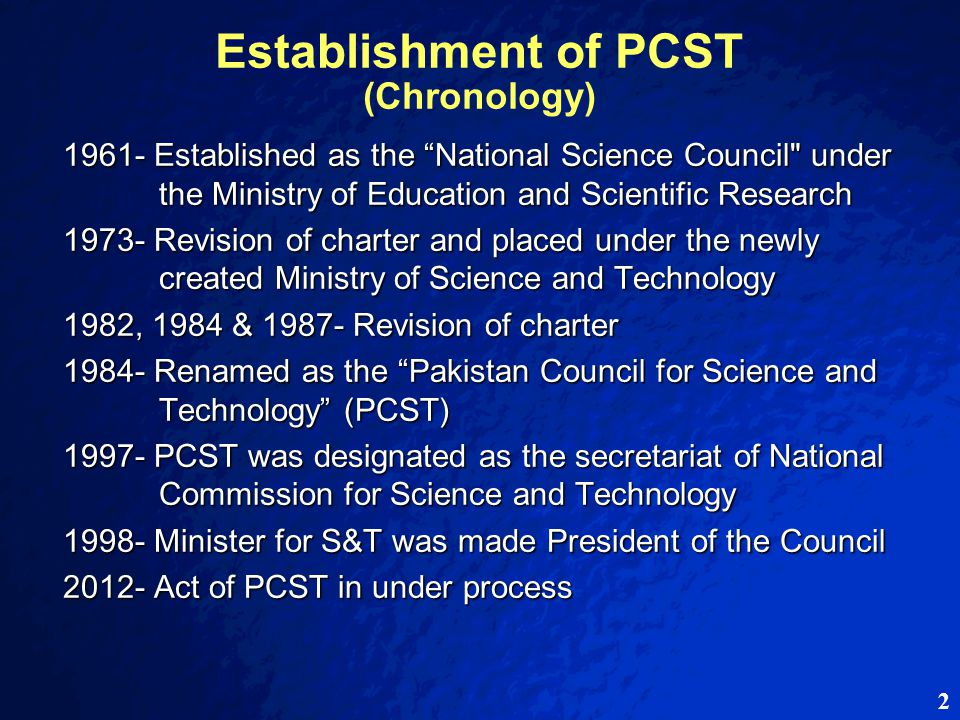 63 Objectives / Functions of PCST (as per proposed Act) f) f)to take measures for effective collaboration among academia, R&D organizations and industry for development of indigenous products / technologies g) g)to promote quality R&D culture in the country, evaluation of national research and development activities including output of individuals and institutions and to grant awards/incentives thereof h) h)to promote collaboration among national and international organizations for promotion and capacity-building in science and technology and to enter into MoUs, contracts etc.