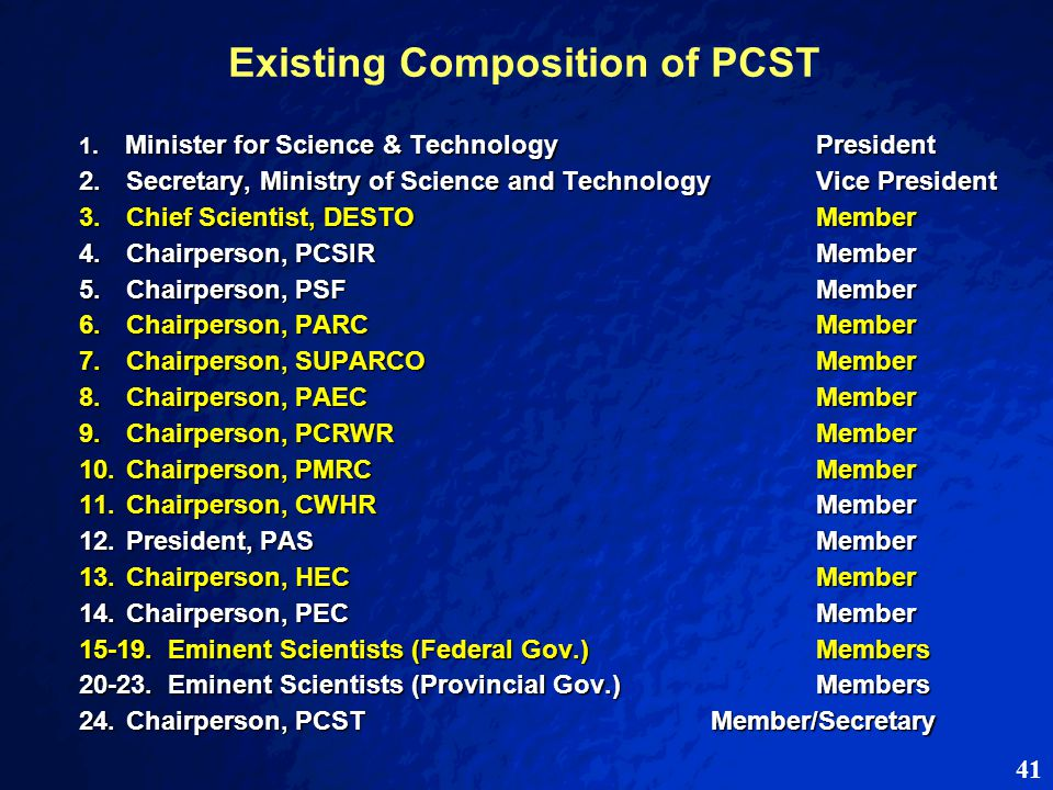41 Existing Composition of PCST 1. Minister for Science & TechnologyPresident 2.