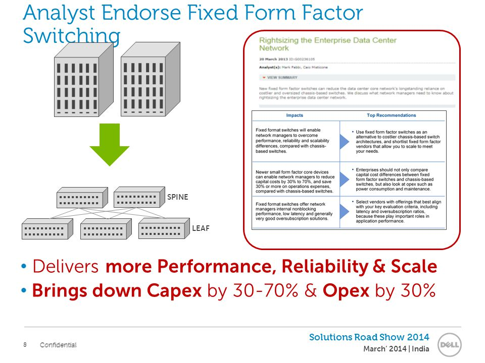 8 Solutions Road Show 2014 March' 2014 | India Confidential Analyst Endorse Fixed Form Factor Switching SPINE LEAF Delivers more Performance, Reliabil