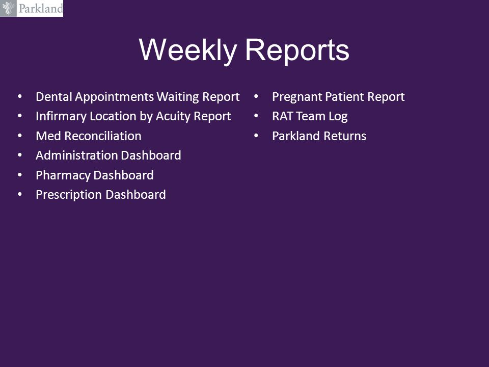 Weekly Reports Dental Appointments Waiting Report Infirmary Location by Acuity Report Med Reconciliation Administration Dashboard Pharmacy Dashboard P