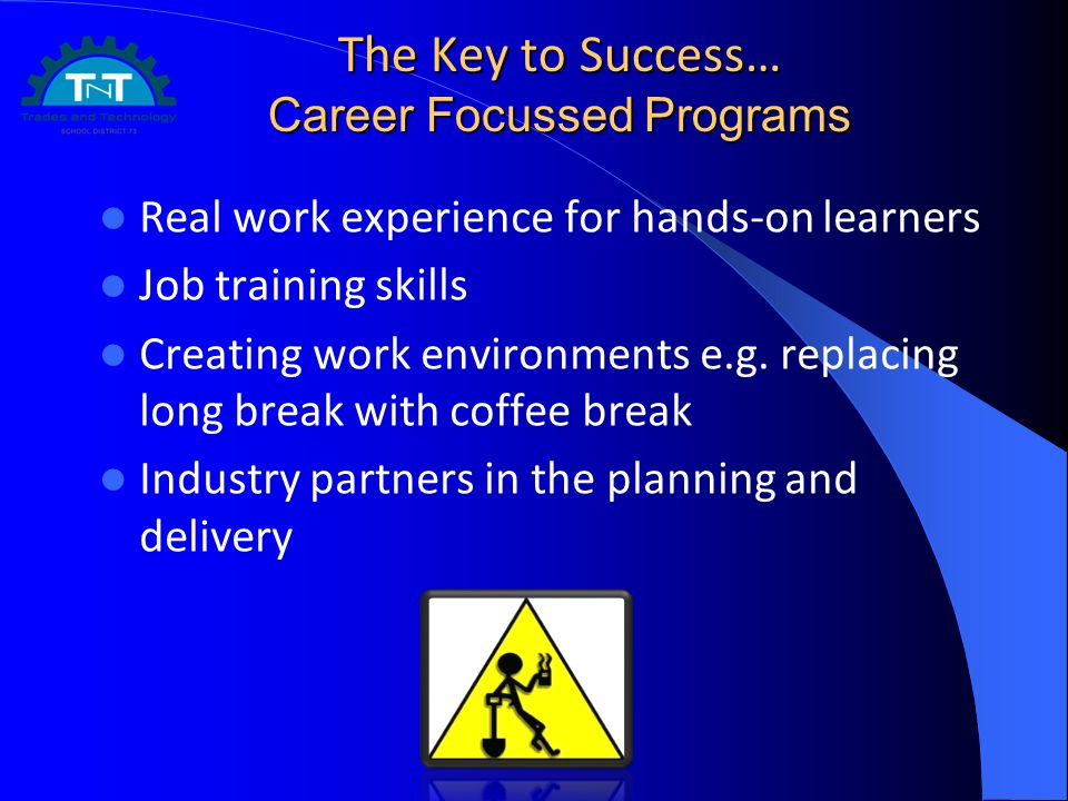 The Key to Success… Career Focussed Programs Real work experience for hands-on learners Job training skills Creating work environments e.g. replacing