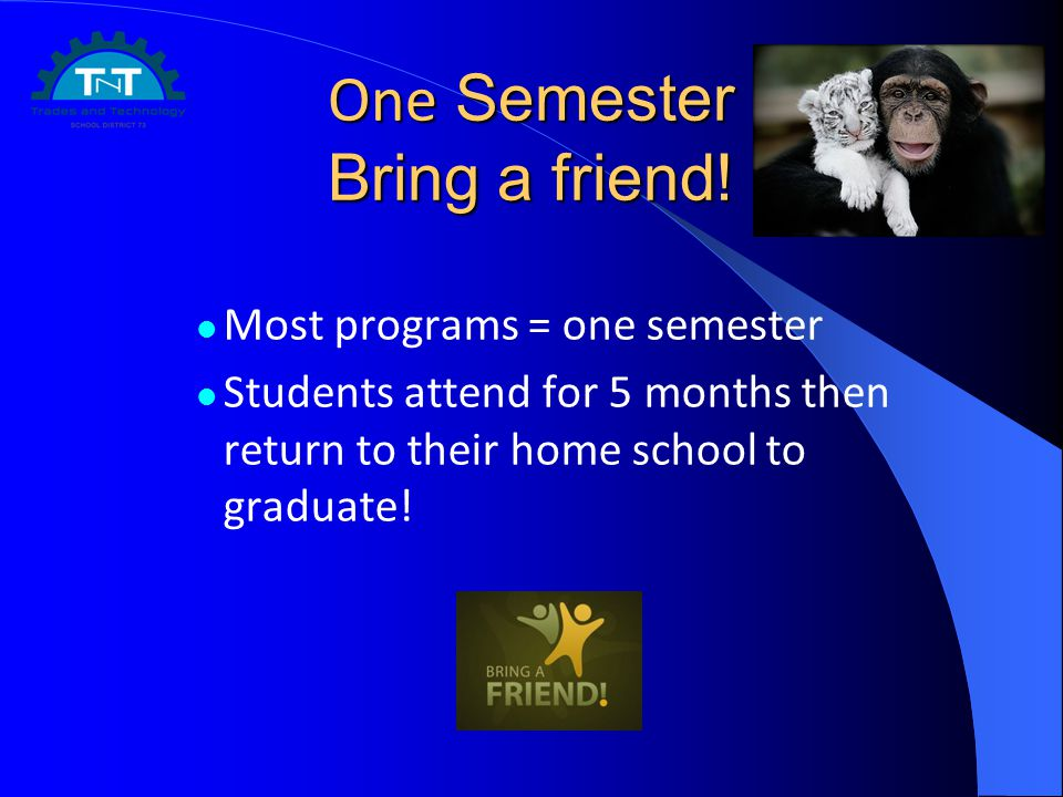 One Semester Bring a friend! Most programs = one semester Students attend for 5 months then return to their home school to graduate!