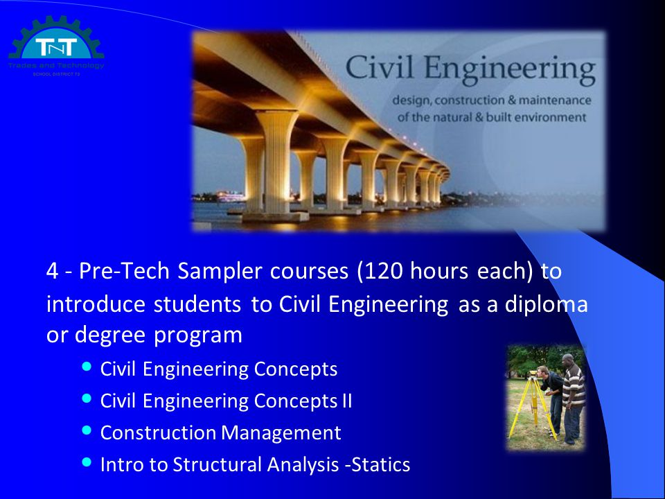 4 - Pre-Tech Sampler courses (120 hours each) to introduce students to Civil Engineering as a diploma or degree program Civil Engineering Concepts Civil Engineering Concepts II Construction Management Intro to Structural Analysis -Statics