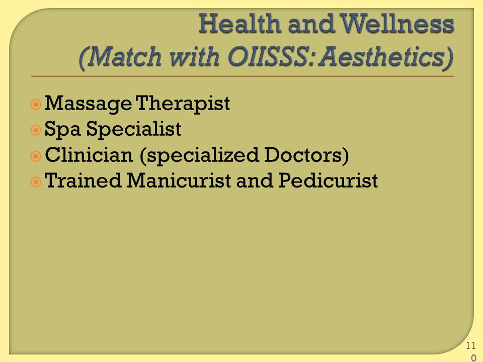  Massage Therapist  Spa Specialist  Clinician (specialized Doctors)  Trained Manicurist and Pedicurist 110