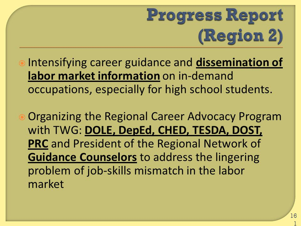  Intensifying career guidance and dissemination of labor market information on in-demand occupations, especially for high school students.  Organizi