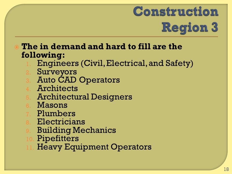  The in demand and hard to fill are the following: 1. Engineers (Civil, Electrical, and Safety) 2. Surveyors 3. Auto CAD Operators 4. Architects 5. A