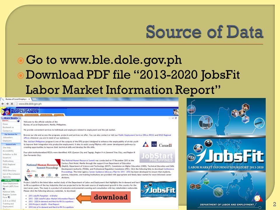 " Go to www.ble.dole.gov.ph  Download PDF file ""2013-2020 JobsFit Labor Market Information Report"" 2 download"