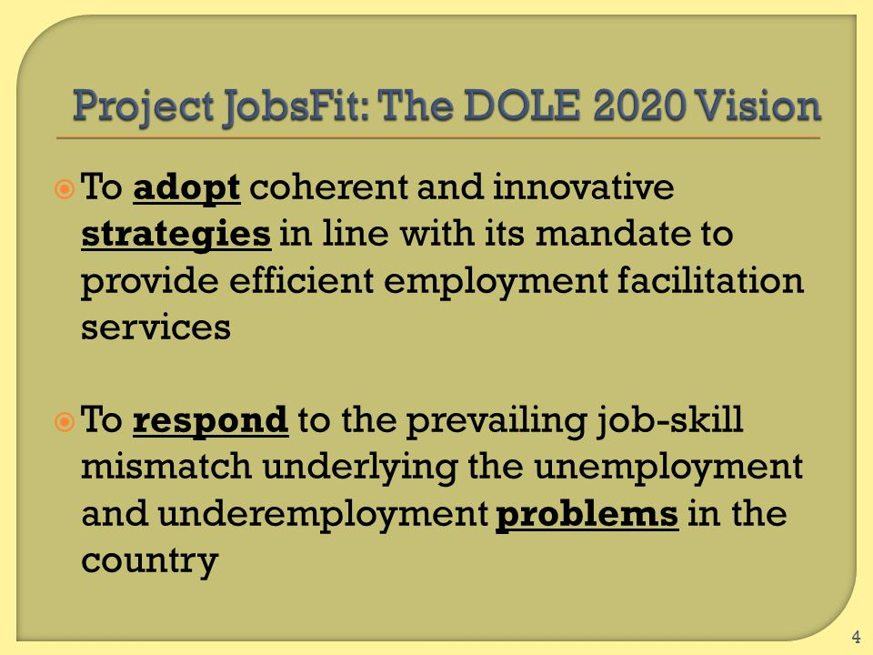  To adopt coherent and innovative strategies in line with its mandate to provide efficient employment facilitation services  To respond to the preva