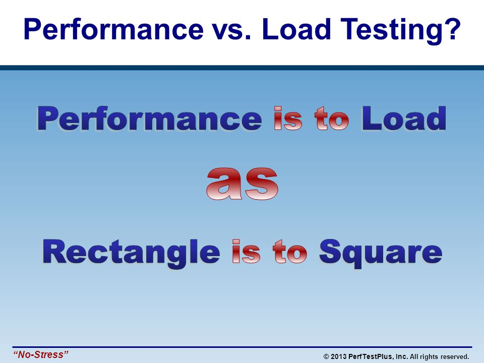 © 2013 PerfTestPlus, Inc. All rights reserved. No-Stress Performance vs. Load Testing