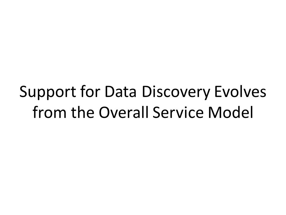 Support for Data Discovery Evolves from the Overall Service Model