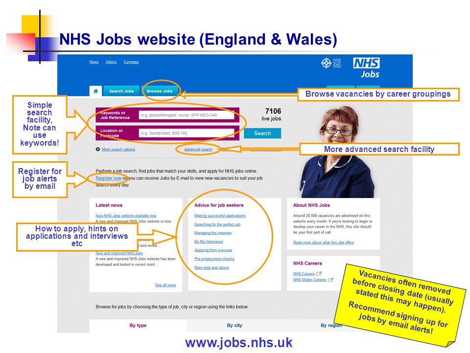 NHS Jobs website (England & Wales) www.jobs.nhs.uk Simple search facility, Note can use keywords.