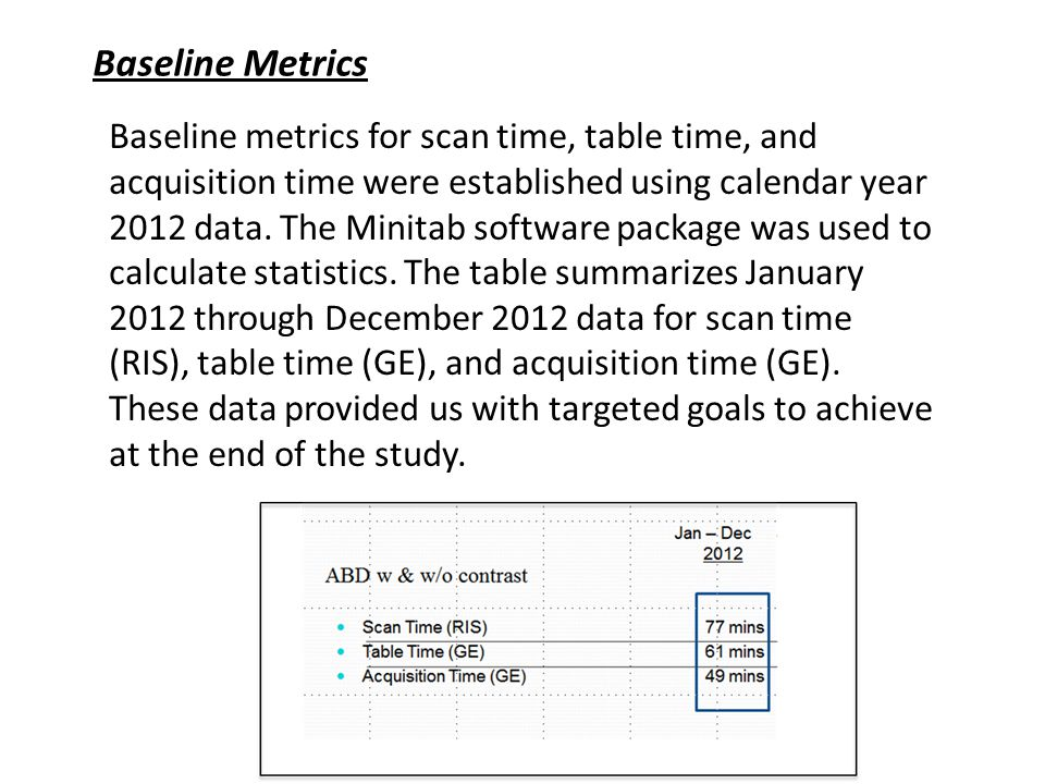 Baseline Metrics Baseline metrics for scan time, table time, and acquisition time were established using calendar year 2012 data.