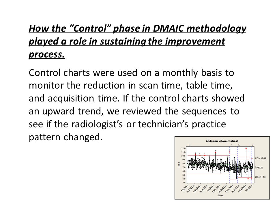 How the Control phase in DMAIC methodology played a role in sustaining the improvement process.