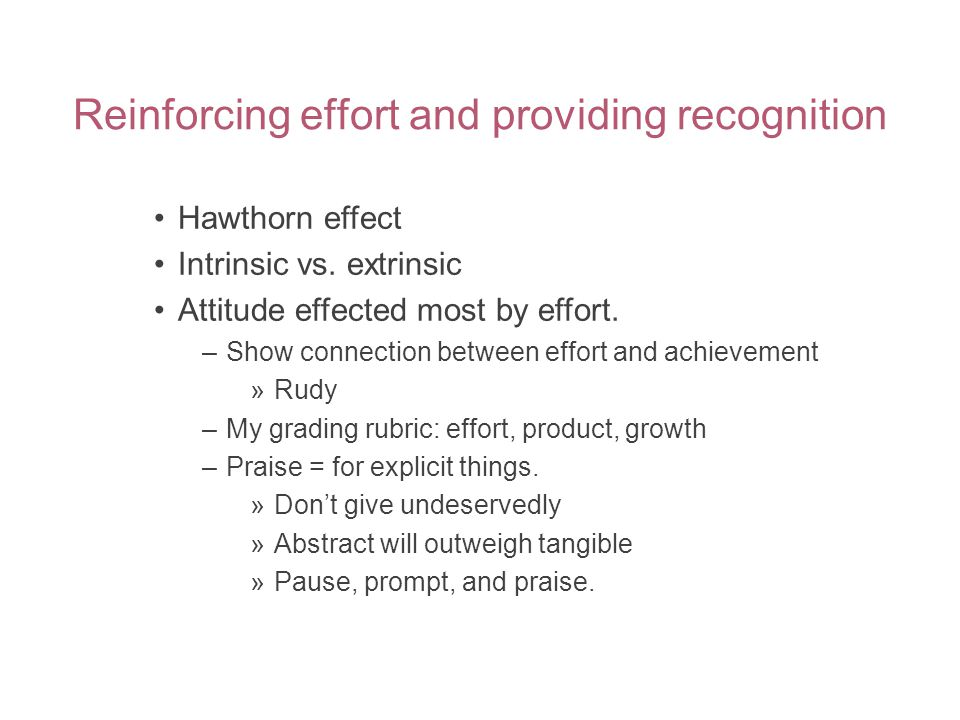 Reinforcing effort and providing recognition Hawthorn effect Intrinsic vs.