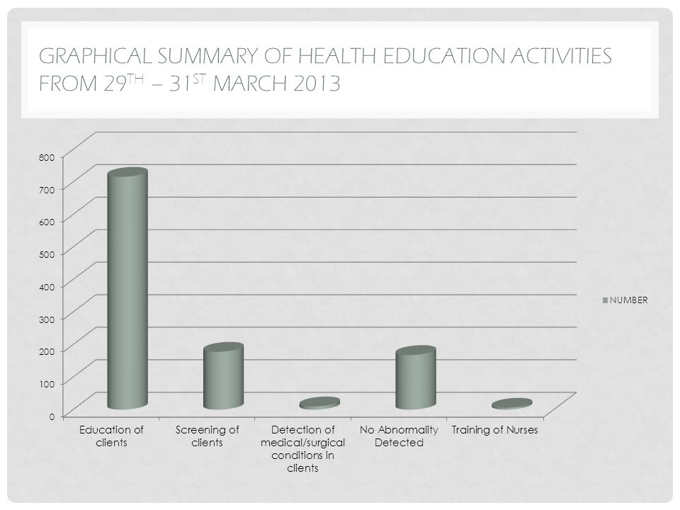 GRAPHICAL SUMMARY OF HEALTH EDUCATION ACTIVITIES FROM 29 TH – 31 ST MARCH 2013