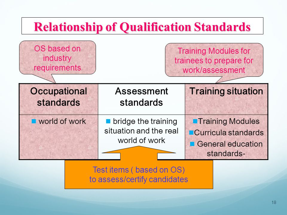 Occupational standards Assessment standards Training situation world of work bridge the training situation and the real world of work Training Modules