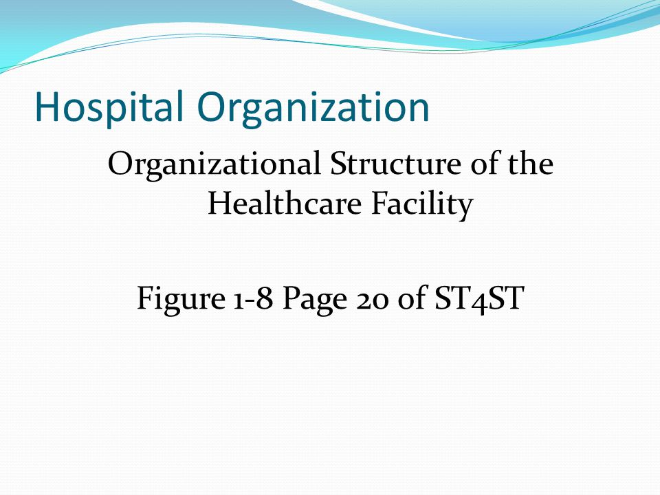 Hospital Organization Organizational Structure of the Healthcare Facility Figure 1-8 Page 20 of ST4ST