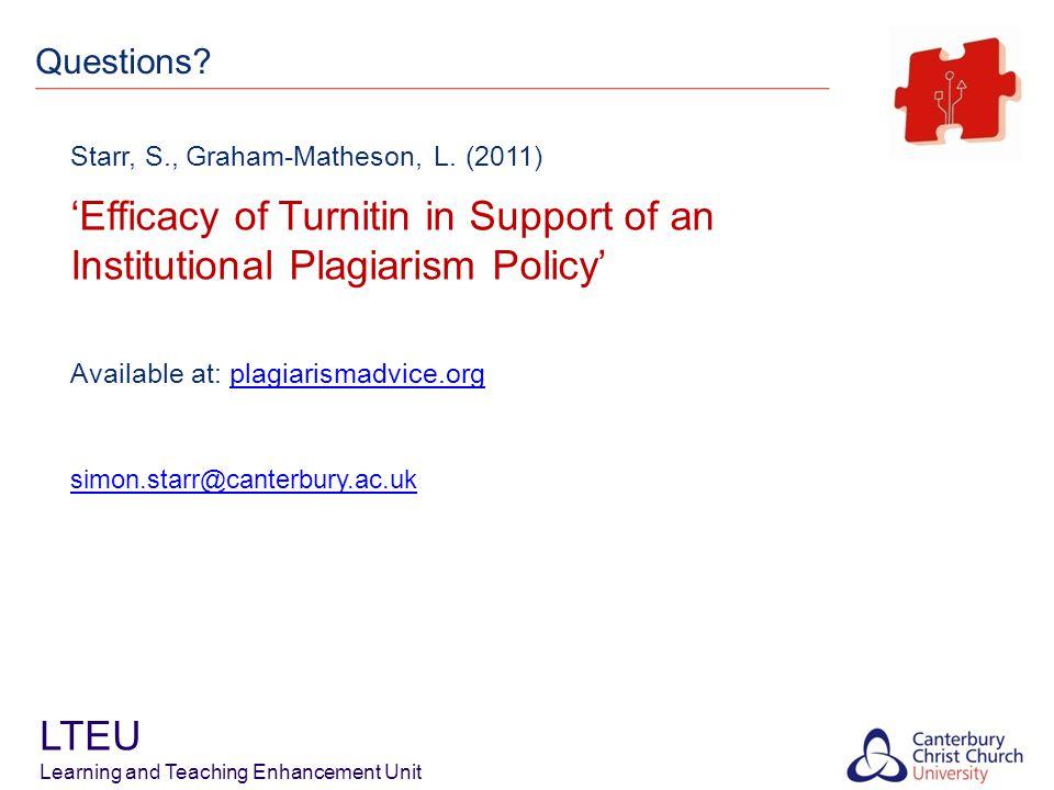 LTEU Learning and Teaching Enhancement Unit Starr, S., Graham-Matheson, L.
