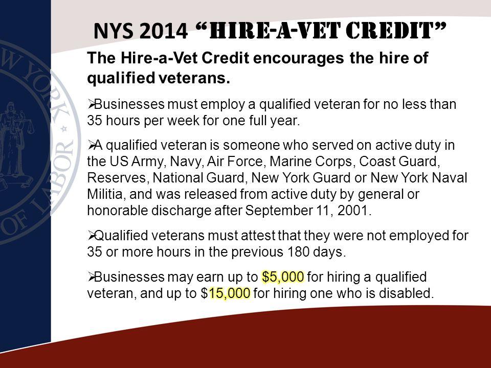 NYS 2014 Hire-A-Vet Credit