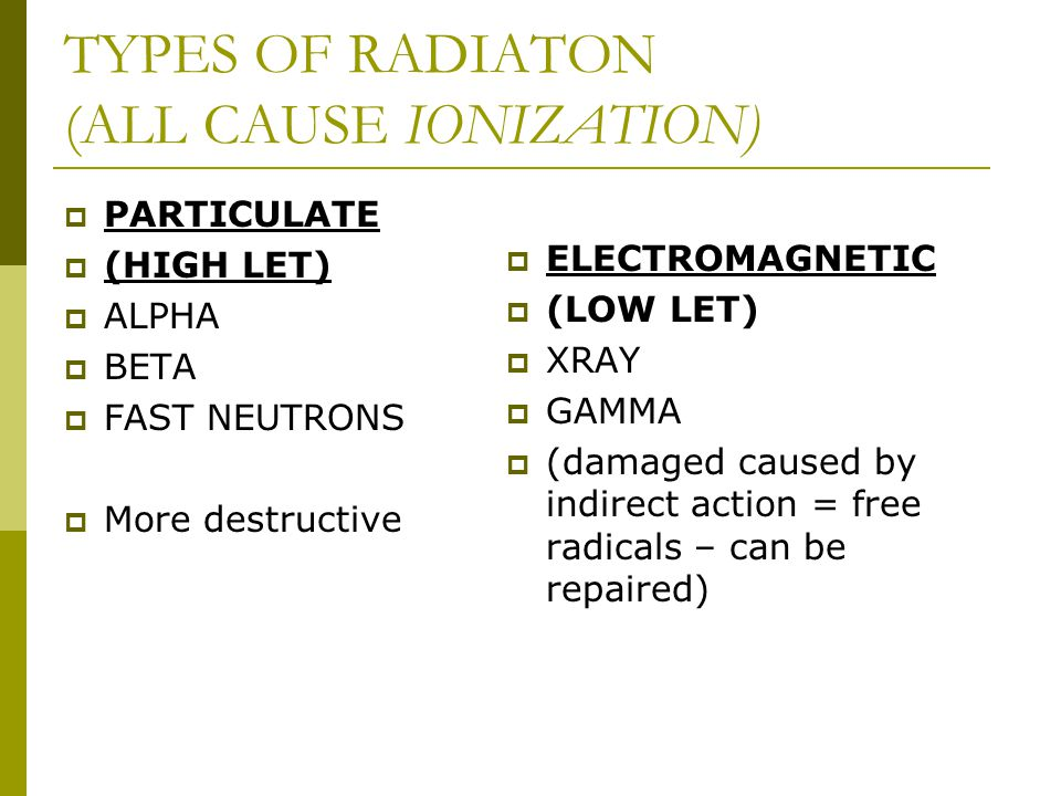 TYPES OF RADIATON (ALL CAUSE IONIZATION)  PARTICULATE  (HIGH LET)  ALPHA  BETA  FAST NEUTRONS  More destructive  ELECTROMAGNETIC  (LOW LET) 