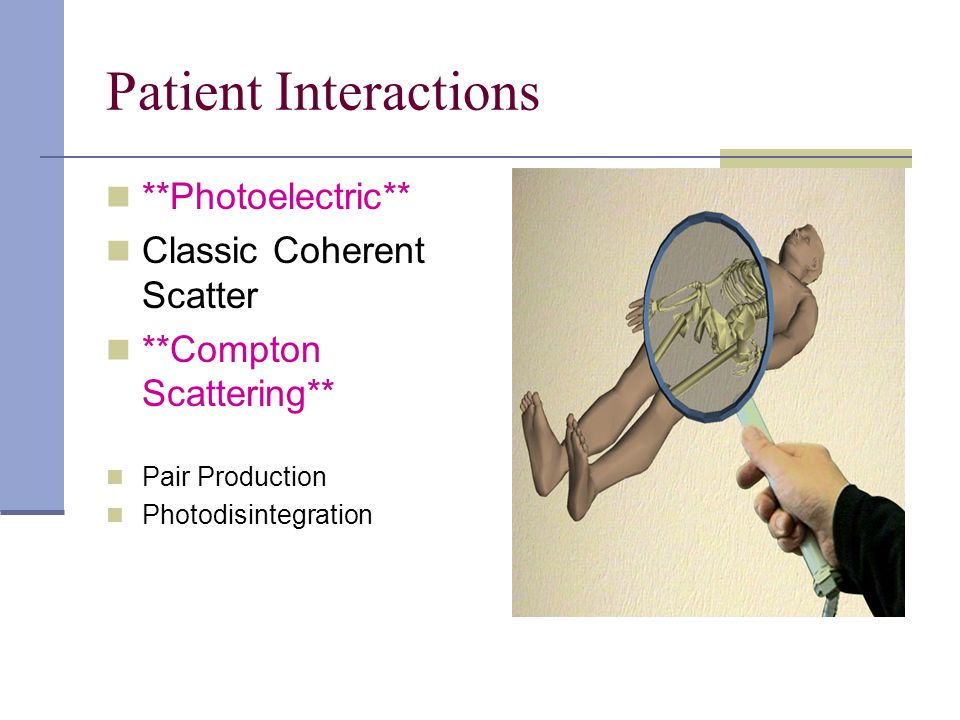 Patient Interactions **Photoelectric** Classic Coherent Scatter **Compton Scattering** Pair Production Photodisintegration
