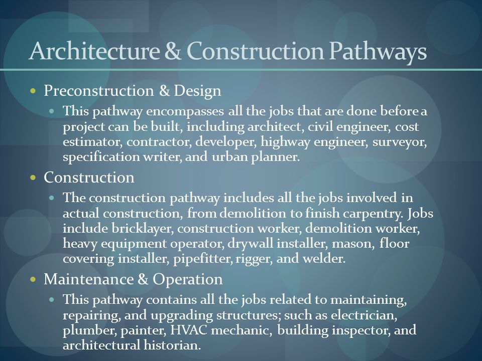 Architecture & Construction Pathways Preconstruction & Design This pathway encompasses all the jobs that are done before a project can be built, inclu