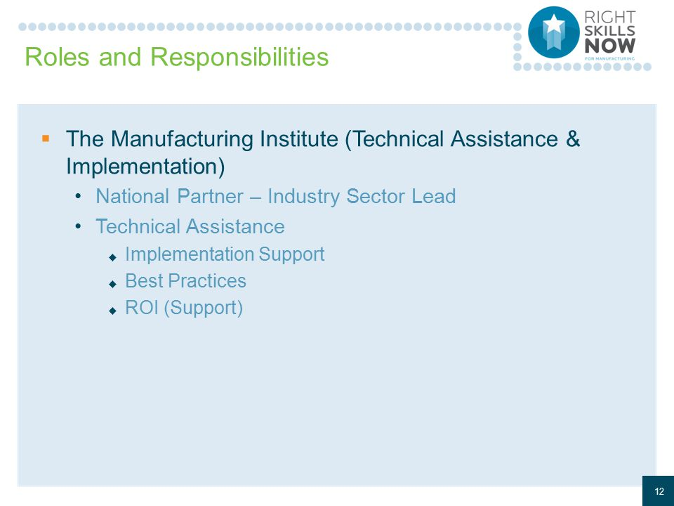 Roles and Responsibilities  The Manufacturing Institute (Technical Assistance & Implementation) National Partner – Industry Sector Lead Technical Assistance  Implementation Support  Best Practices  ROI (Support) 12