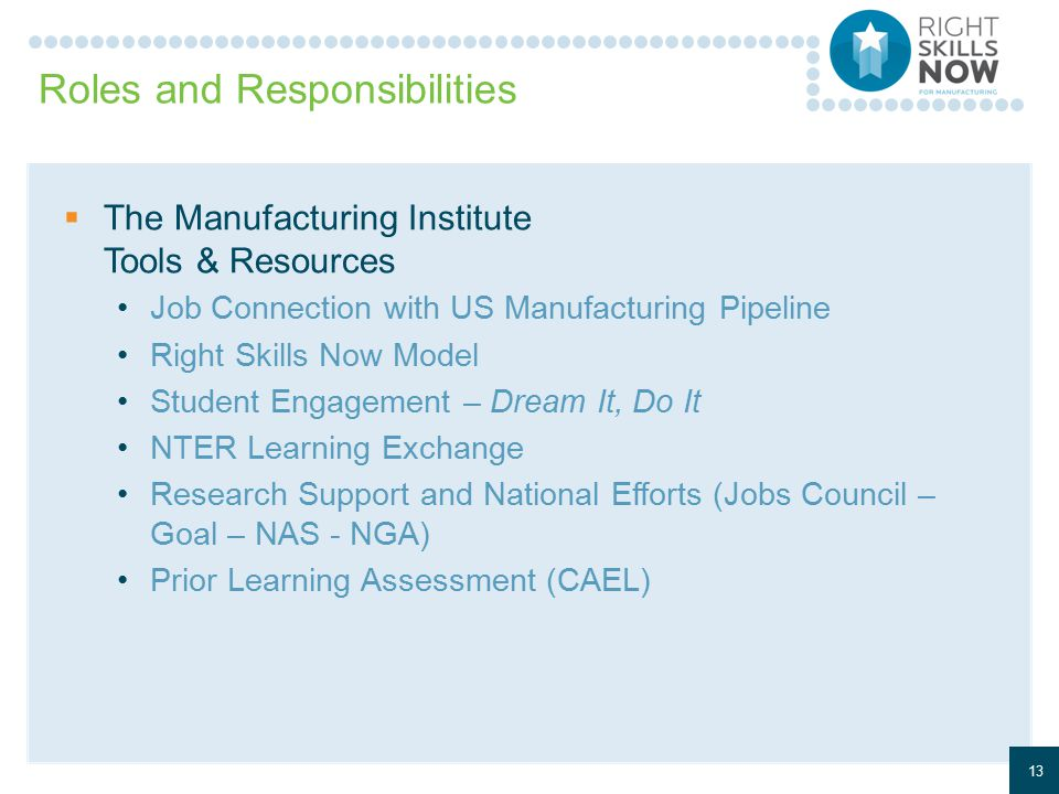 Roles and Responsibilities  The Manufacturing Institute Tools & Resources Job Connection with US Manufacturing Pipeline Right Skills Now Model Student Engagement – Dream It, Do It NTER Learning Exchange Research Support and National Efforts (Jobs Council – Goal – NAS - NGA) Prior Learning Assessment (CAEL) 13