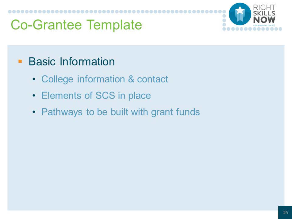 Co-Grantee Template  Basic Information College information & contact Elements of SCS in place Pathways to be built with grant funds 25