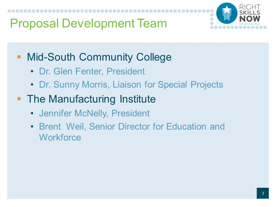 Proposal Development Team  Mid-South Community College Dr.