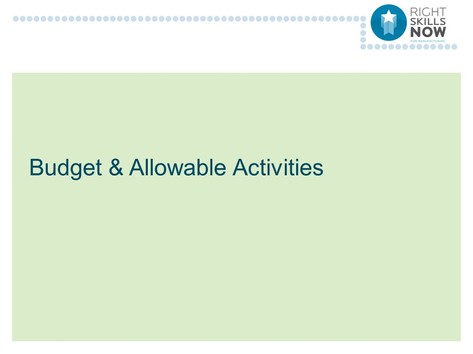 Budget & Allowable Activities