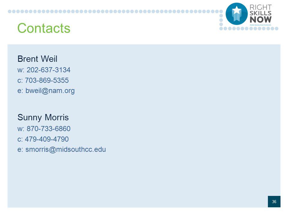 Contacts Brent Weil w: 202-637-3134 c: 703-869-5355 e: bweil@nam.org Sunny Morris w: 870-733-6860 c: 479-409-4790 e: smorris@midsouthcc.edu 36