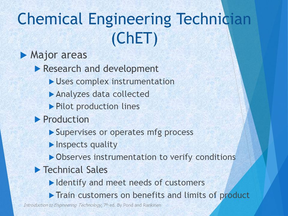 Chemical Engineering Technician (ChET)  Specialty areas  Biological engineering technology  Nuclear engineering technology  Materials engineering technology  Environmental engineering technology  Petroleum engineering technology Introduction to Engineering Technology, 7 th ed.