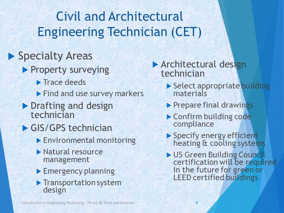 Civil and Architectural Engineering Technician (CET) Introduction to Engineering Technology, 7 th ed.