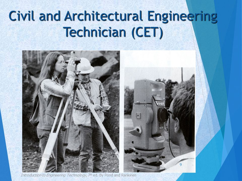 Civil and Architectural Engineering Technician (CET)  Personal qualities  A willingness to work with others as a part of a team and to direct others  An aptitude for science and mathematics  A need to exercise creativity and an ability to make decisions  An ability to think and plan ahead  A willingness to travel and work outdoors Introduction to Engineering Technology, 7 th ed.